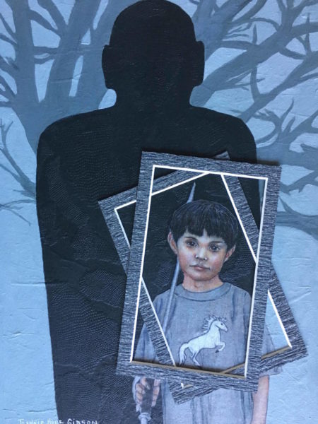 Shadows on the Wall painting of boy with man's shadow behind him