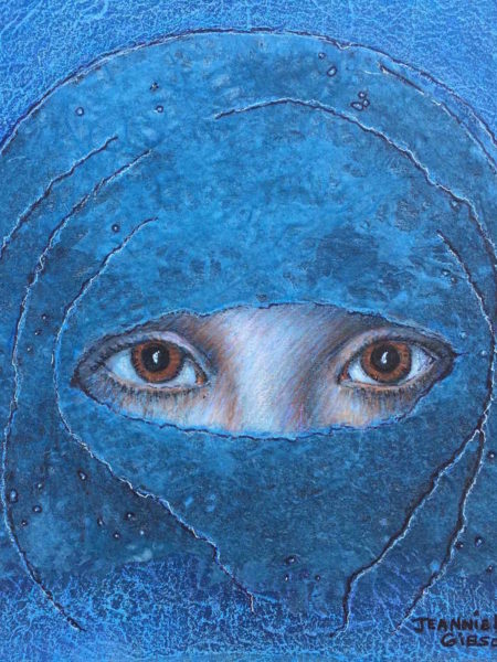 Painting of woman wearing a blue burka