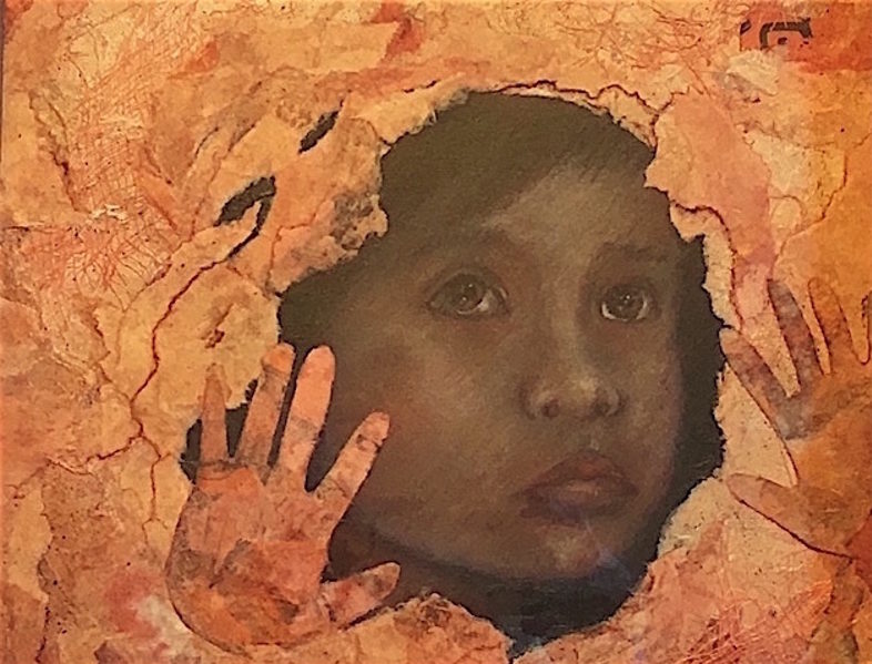 Painting of a child's face looking through a hole in a wall