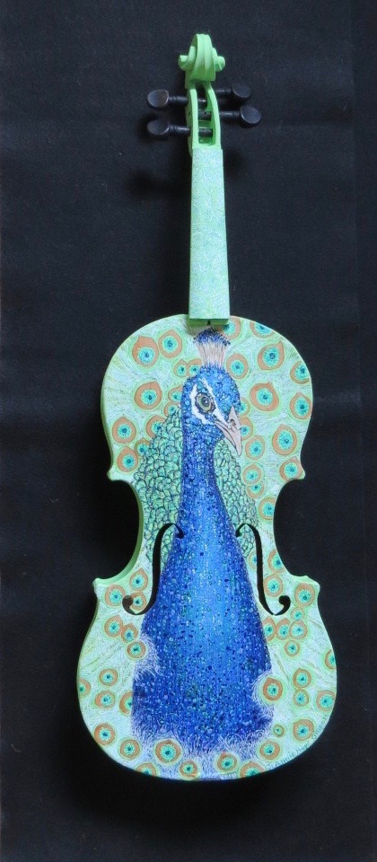 A viola hand-painted with a peacock