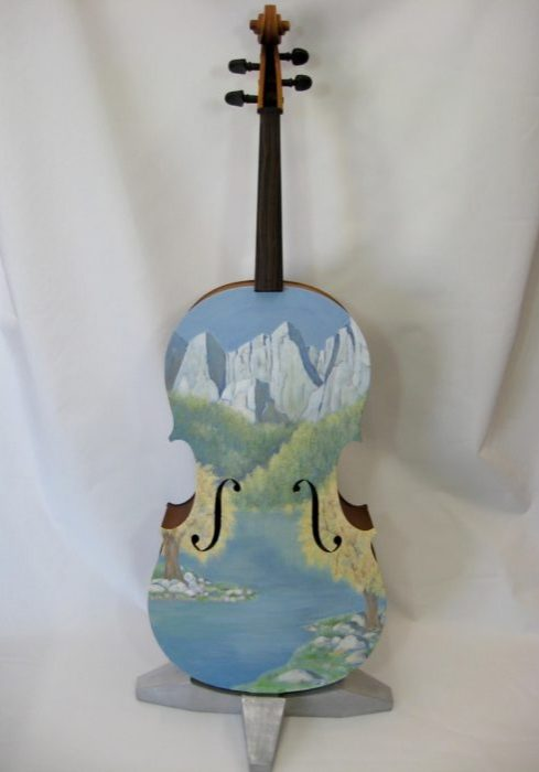 A New Song painted cello by Jeannie Hope Gibson